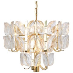 Stunning Brass, Crystal Glass Chandelier Florida, Kalmar, Austria, 1970