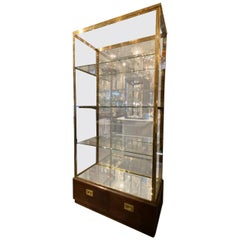 Stunning Brass, Glass and Wood Display Cabinet