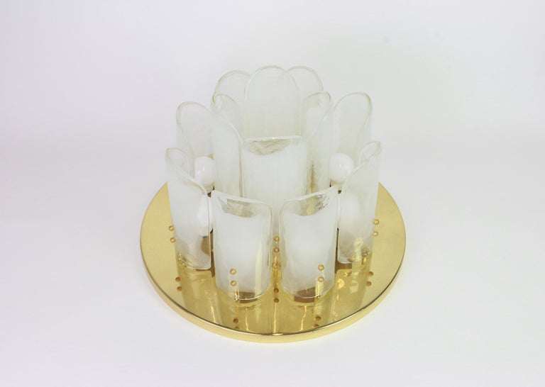 Mid-Century Modern Stunning Brass, Murano Glass Light Fixture , Kalmar, Austria, 1970 For Sale