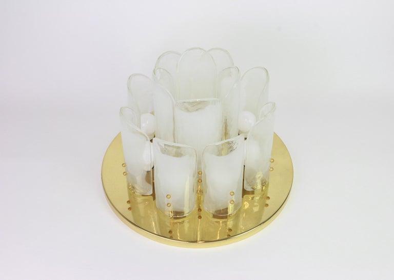 Mid-Century Modern Stunning Brass, Murano Glass Light Fixture, Kalmar, Austria, 1970 For Sale