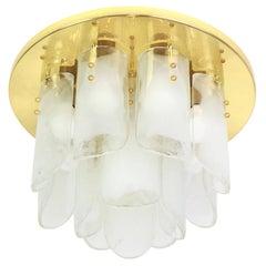 Stunning Brass, Murano Glass Light Fixture, Kalmar, Austria, 1970