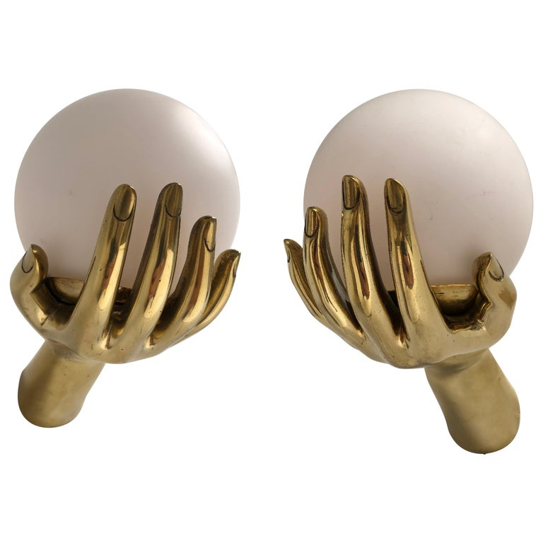 Brass & Opaline glass appliques  ARLUS, 1960  handed pair, Guaranteed original For Sale