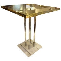 Stunning Brass Plexiglas 1970s Coffee Table, France