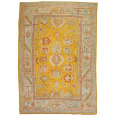 Stunning Bright Yellow Antique Turkish Oushak Rug