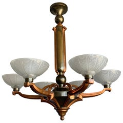 Stunning Bronze and Brass Art Deco Chandelier with Highly Stylish Glass Shades