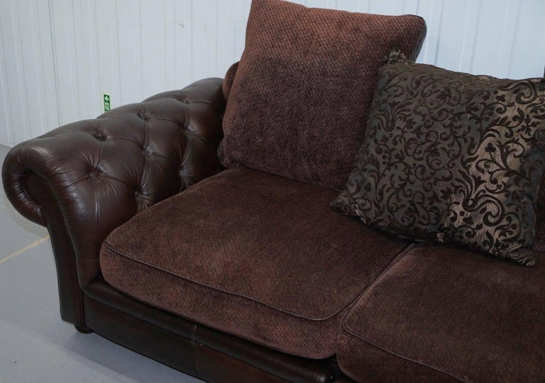 Stunning Brown Leather And Fabric Chesterfield Sofa At 1stdibs