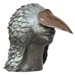 Stunning Brutalist Bronze Sculpture of a Bird-Man's Head, Mexico, 1960s