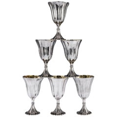 Stunning Buccellati Solid Silver Large Goblets in Original Case, circa 1980