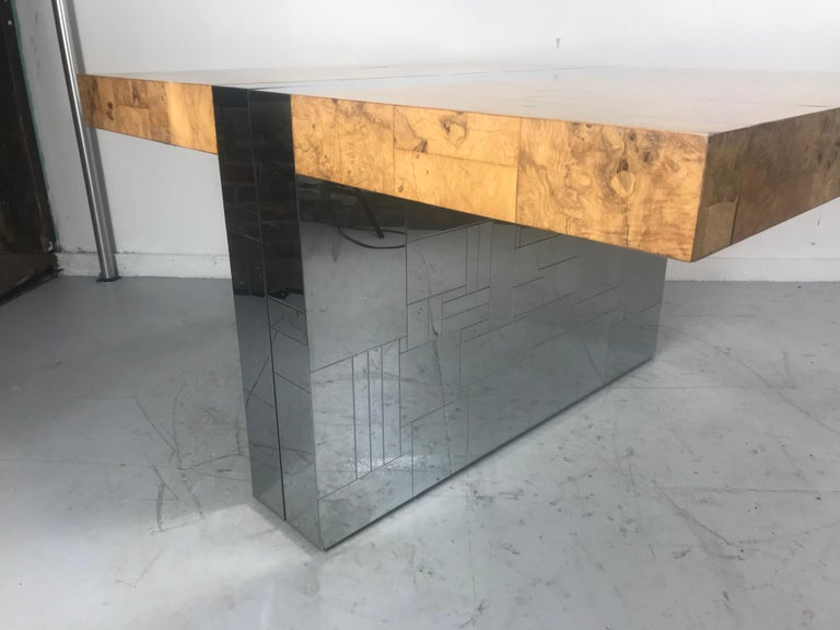 Stunning Burl Olive Wood 1960s Paul Evans Cityscape Dining Table / Desk For Sale 7