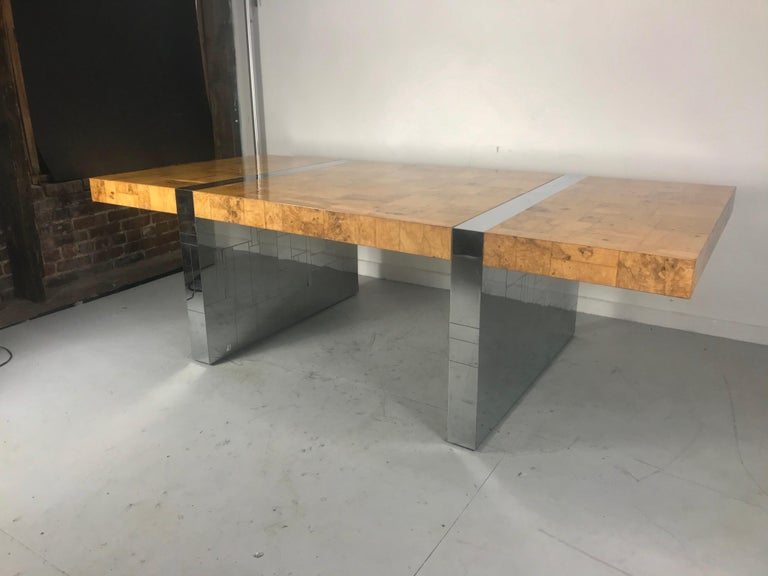 Stunning burl olive wood 1960s Paul Evans Cityscape dining table/desk. Amazing quality and construction, Patchwork burl olive wood, chrome with incised city skyline. Single 44