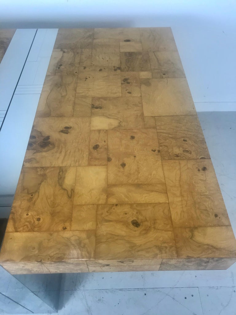 Stunning Burl Olive Wood 1960s Paul Evans Cityscape Dining Table / Desk For Sale 4