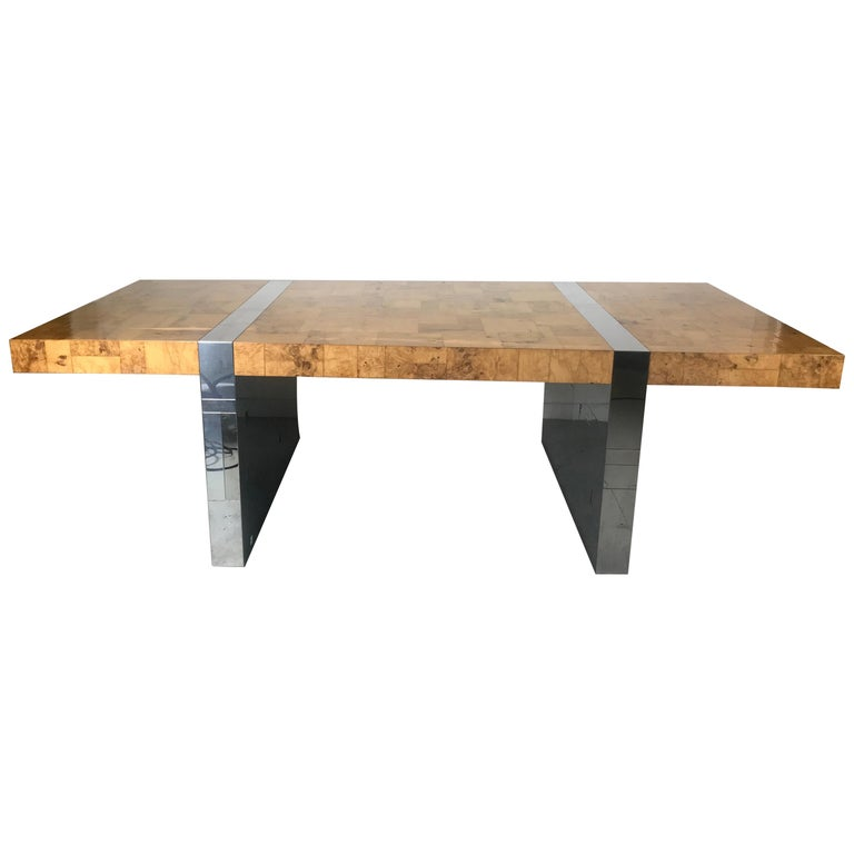Stunning Burl Olive Wood 1960s Paul Evans Cityscape Dining Table / Desk For Sale
