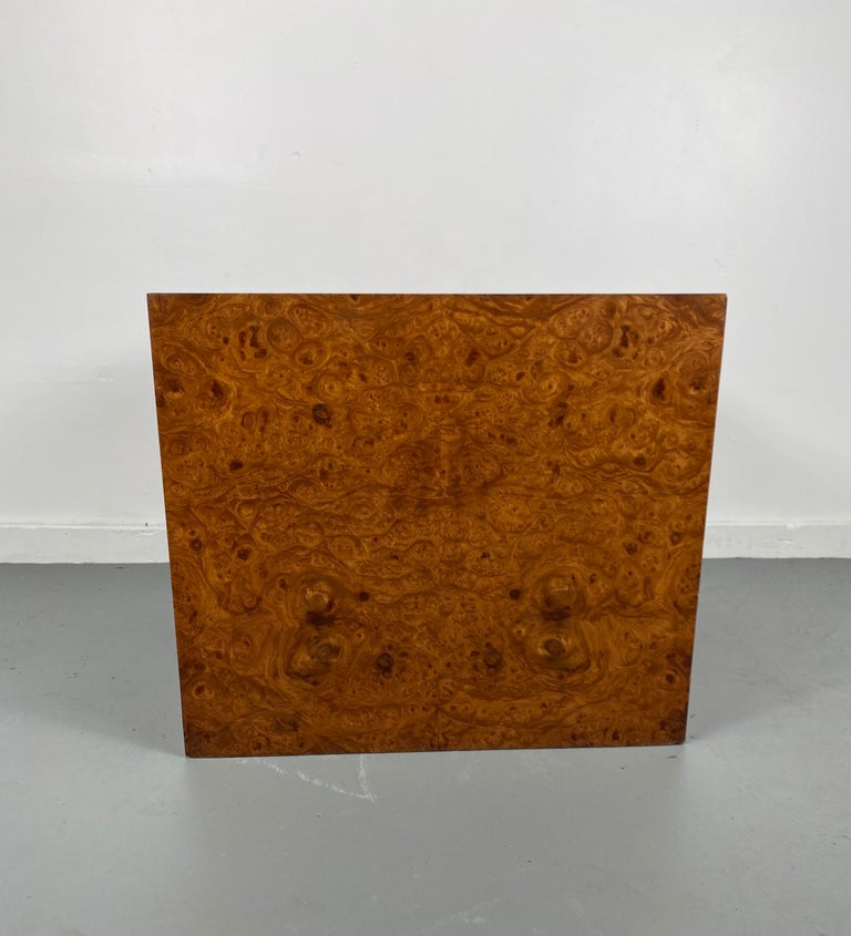 Mid-Century Modern Stunning Burl Wood Cube Table / Pedestal by Milo Baughman For Sale