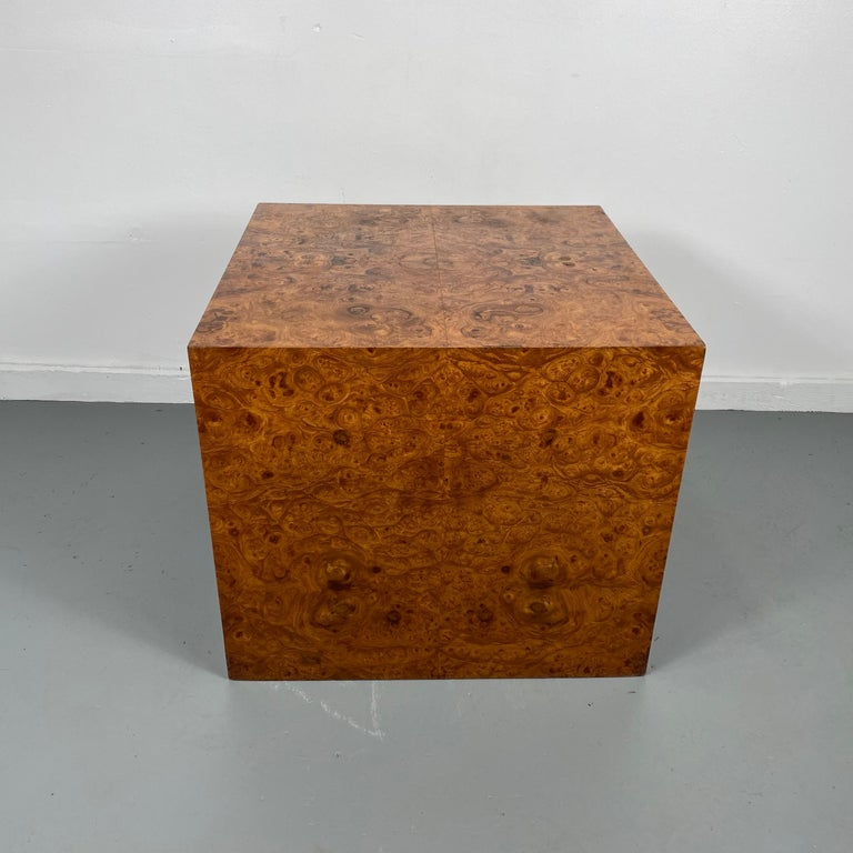 American Stunning Burl Wood Cube Table / Pedestal by Milo Baughman For Sale