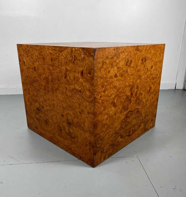 Late 20th Century Stunning Burl Wood Cube Table / Pedestal by Milo Baughman For Sale