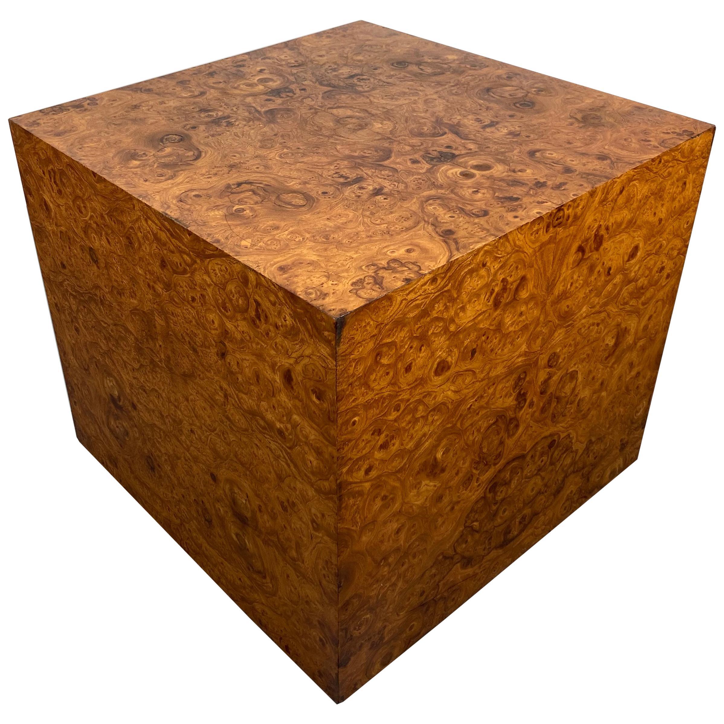 Stunning Burl Wood Cube Table / Pedestal by Milo Baughman