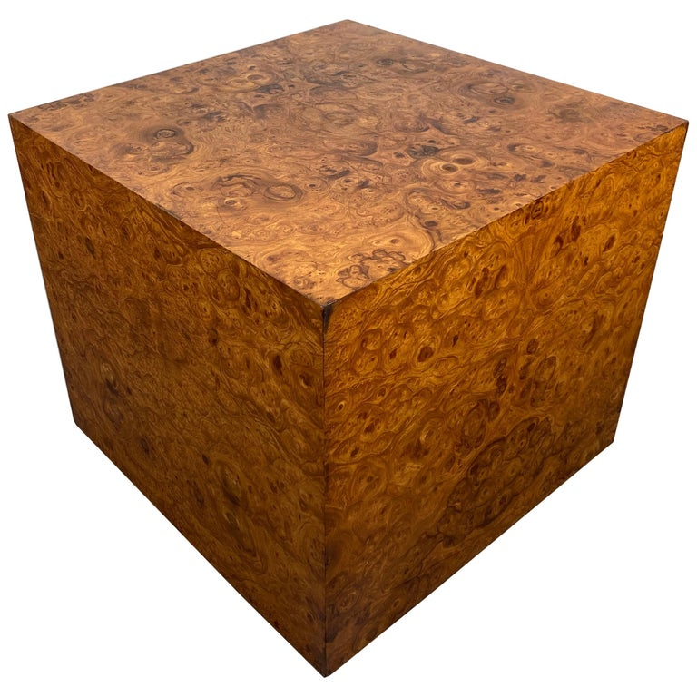 Stunning Burl Wood Cube Table / Pedestal by Milo Baughman For Sale