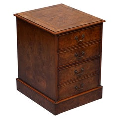Stunning Burr Elm Brown Leather Topped Filing Cabinet