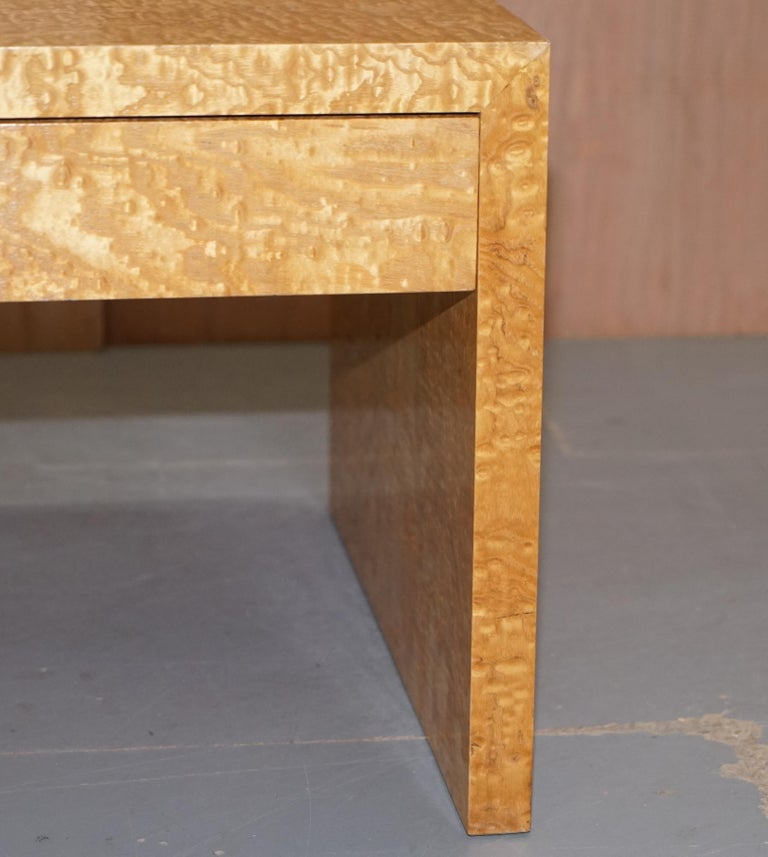 Stunning Burr Satinwood Two-Drawer Coffee Table Stunning Patina Part of a Suite For Sale 2