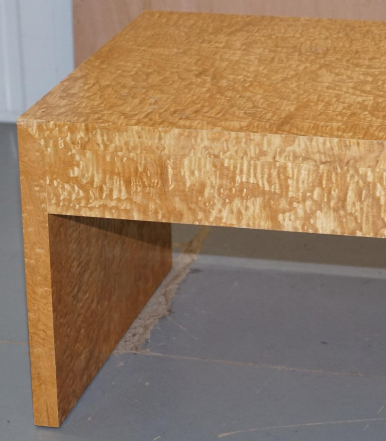 Stunning Burr Satinwood Two-Drawer Coffee Table Stunning Patina Part of a Suite For Sale 6