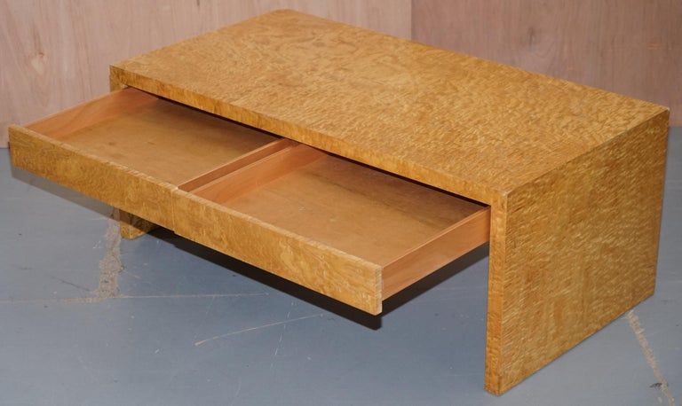 Stunning Burr Satinwood Two-Drawer Coffee Table Stunning Patina Part of a Suite For Sale 9