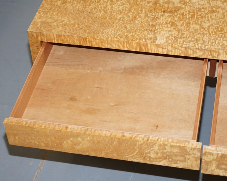 Stunning Burr Satinwood Two-Drawer Coffee Table Stunning Patina Part of a Suite For Sale 11