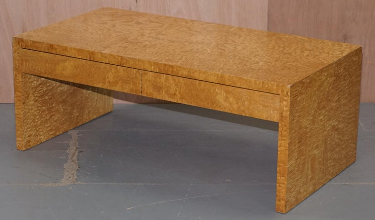 Modern Stunning Burr Satinwood Two-Drawer Coffee Table Stunning Patina Part of a Suite For Sale