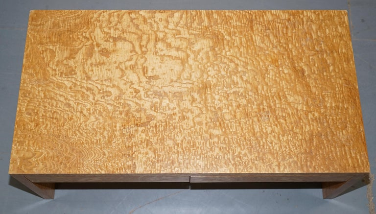 English Stunning Burr Satinwood Two-Drawer Coffee Table Stunning Patina Part of a Suite For Sale