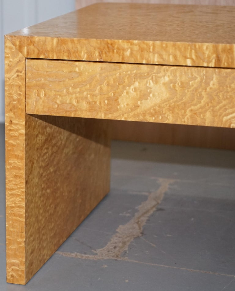 Burl Stunning Burr Satinwood Two-Drawer Coffee Table Stunning Patina Part of a Suite For Sale