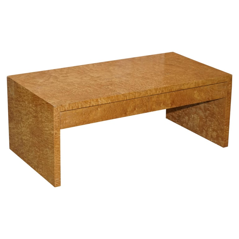 Stunning Burr Satinwood Two-Drawer Coffee Table Stunning Patina Part of a Suite For Sale