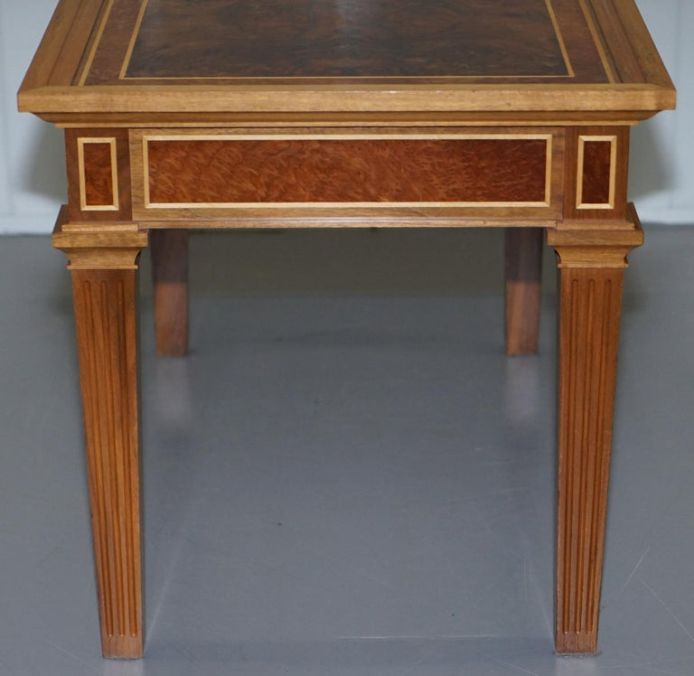 Stunning Burr Walnut Kidney Desk Built in Bookcase Shelf Brown Leather Surface 5