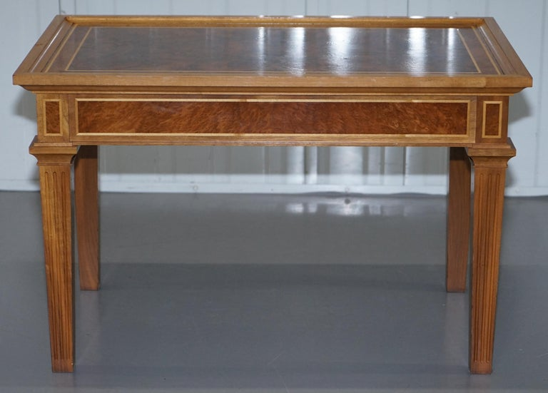 Stunning Burr Walnut Kidney Desk Built in Bookcase Shelf Brown Leather Surface 6