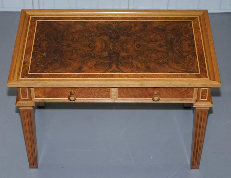 Regency Stunning Burr Walnut Kidney Desk Built in Bookcase Shelf Brown Leather Surface