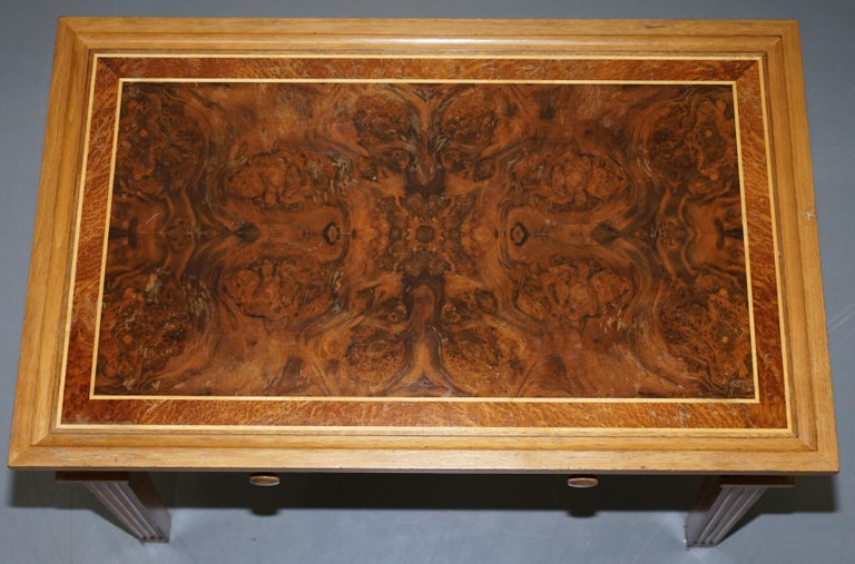 English Stunning Burr Walnut Kidney Desk Built in Bookcase Shelf Brown Leather Surface