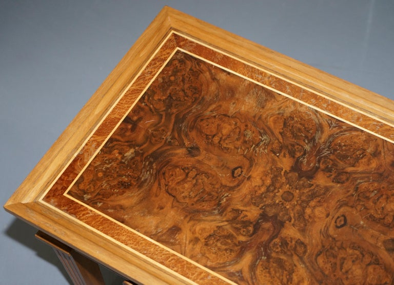 Hand-Crafted Stunning Burr Walnut Kidney Desk Built in Bookcase Shelf Brown Leather Surface