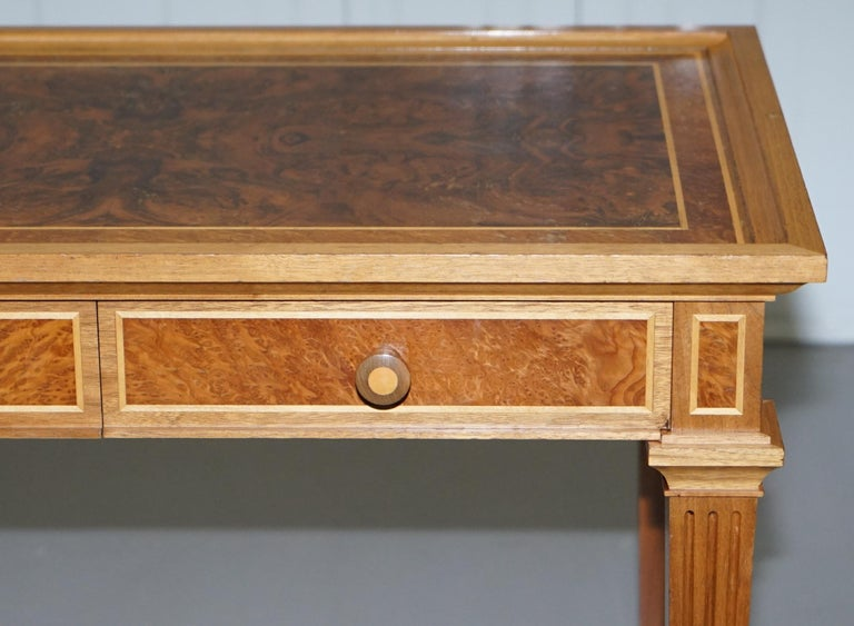 Stunning Burr Walnut Kidney Desk Built in Bookcase Shelf Brown Leather Surface 1