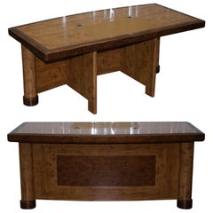 Stunning Burr Walnut Managing Directors Chairman's Desk Part of Large Suite