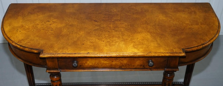 Stunning Burr Walnut Theodore Alexander Console Table With