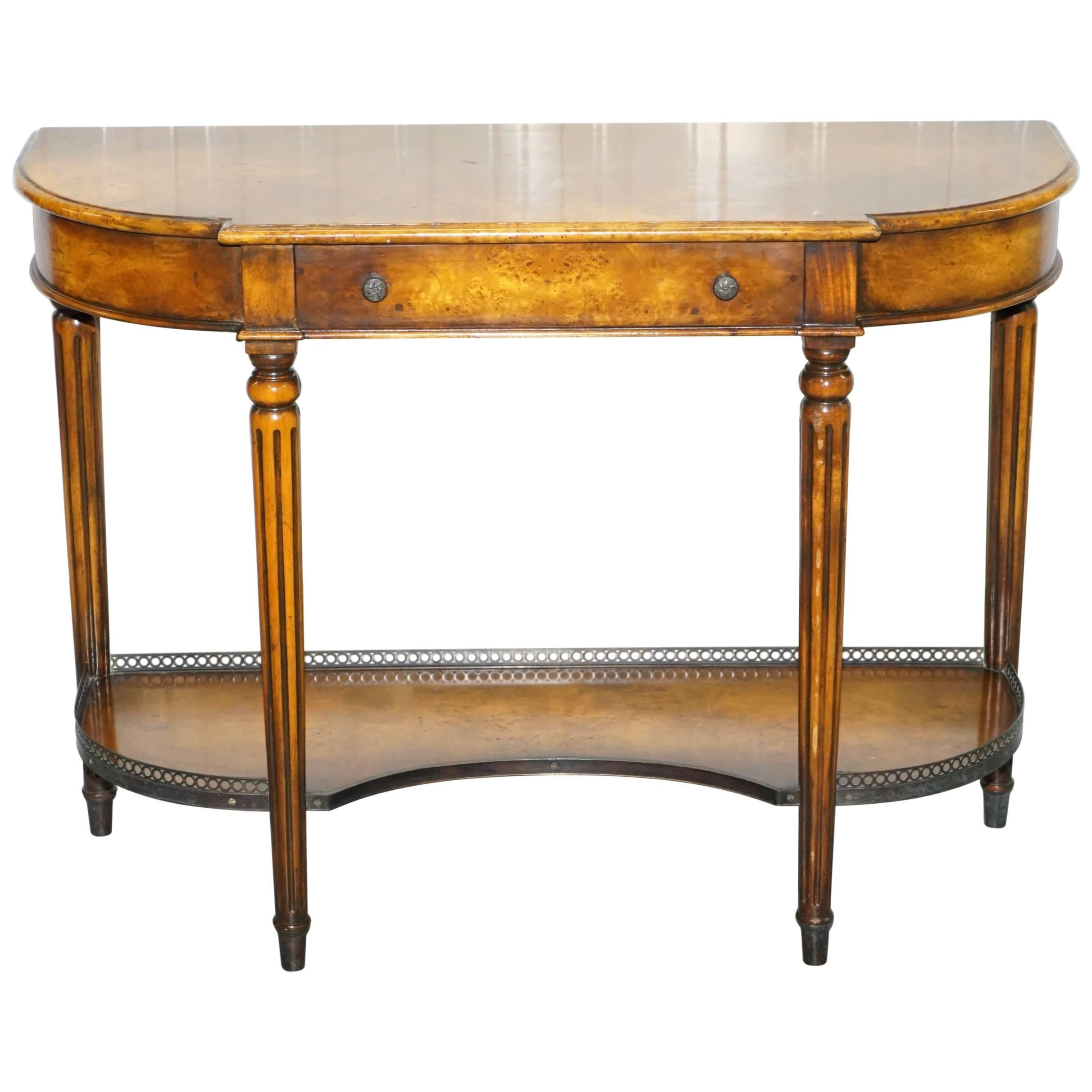 Stunning Burr Walnut Theodore Alexander Console Table With Single Drawers  For Sale