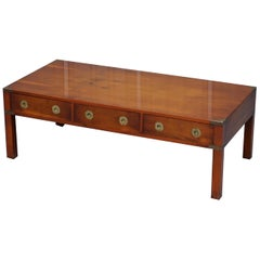 *Stunning Burr Yew Harrods Kennedy Military Campaign Coffee Table Three Drawers