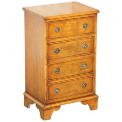 Stunning Burr Yew Wood Chest of Drawers Lamp End Wine Bedside Table Sized