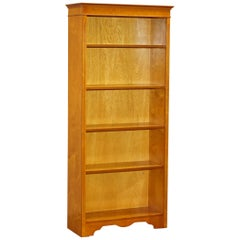 Stunning Burr Yew Wood Library Legal Bookcase with Height Adjustable Shelves