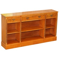 Stunning Burr Yew Wood Library Sideboard with Three Long Drawers and Bookcase