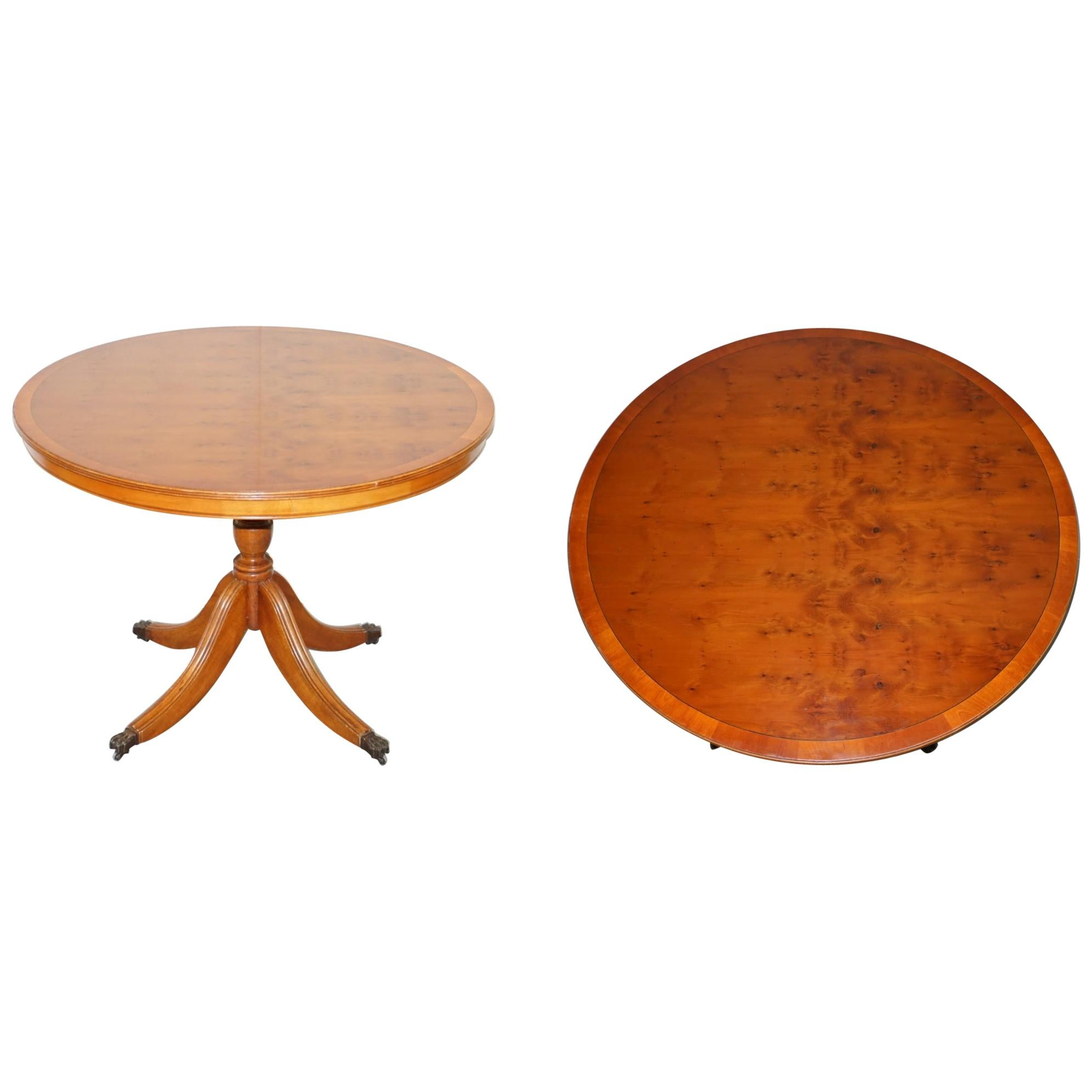 Stunning Burr Yew Wood Round Tilt-Top Dining or Occasional Centre Table Patina