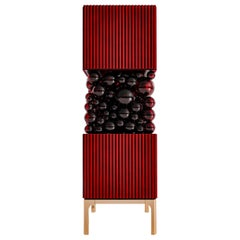 Stunning Cabinet Bubbles with Glass Balls and Brass Legs for Tasteful Interior