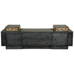 Stunning Cabinet in Black Cerused Oak with Carved Bamboo Motif by James Mont