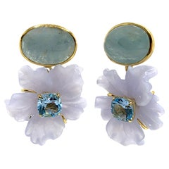 Stunning Cabochon Aquamarine and Carved Chalcedony Flower Drop Earrings