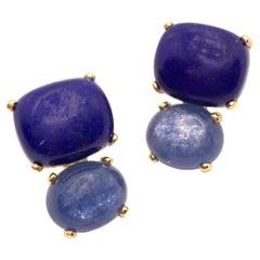 Stunning Cabochon-cut Cushion Lapis Lazuli and Oval Kyanite Vermeil Earrings