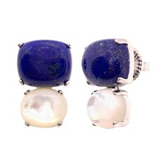 Stunning Cabochon-cut Cushion Lapis Lazuli and Oval Mother of Pearl Earrings