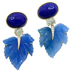 Stunning Cabochon Lapis Lazuli and Carved Blue Quartzite Drop Earrings